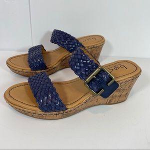 boc Shoes - BOC Platform blue leather cork wedge shoes